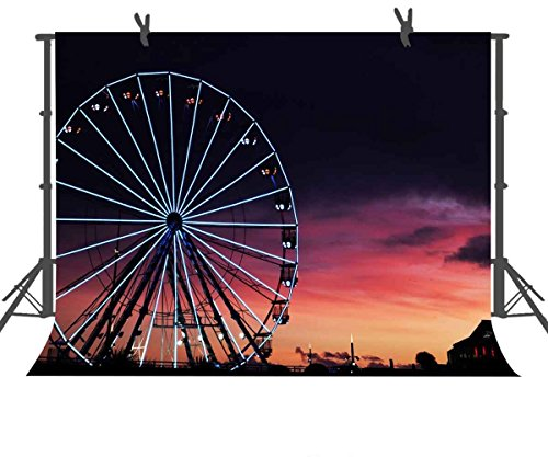 FUERMOR Background 7×5 ft Sunset Ferris Wheel Backdrop Photography Studio Photo Props RQ009