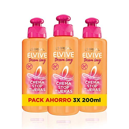 L´Oréal Paris - Elvive Dream Long Crema Stop Tijeras para Cabellos Dañados - Pack de 3 Unidades x 200 ml