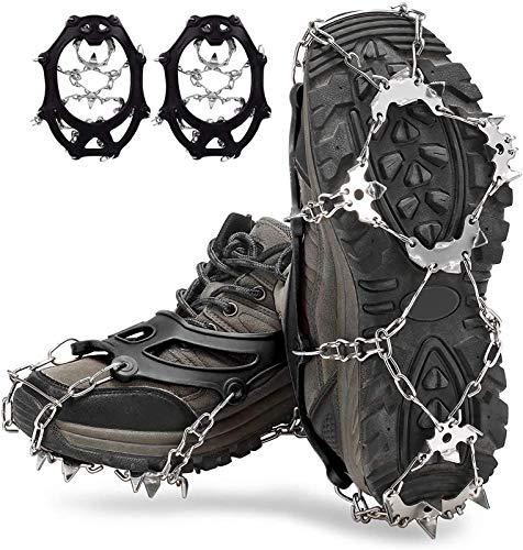 LOWW Crampones para hielo con 19 puntas de acero inoxidable, antideslizantes, profesionales, para nieve y hielo, senderismo, invierno (negro, L)