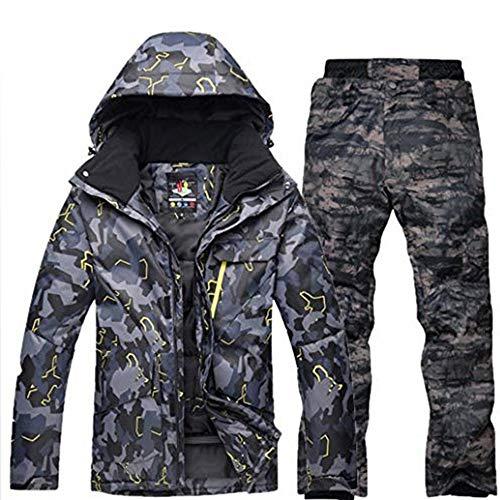 Ddl Outdoor-Sport-Ski-Mantel der Männer im Freien wasserdicht Winddicht Snowboard-Anzug Ski-Mantel und Hose Winterkleidung Ski-Jacke und Hose für Männer Windjacke,C,L
