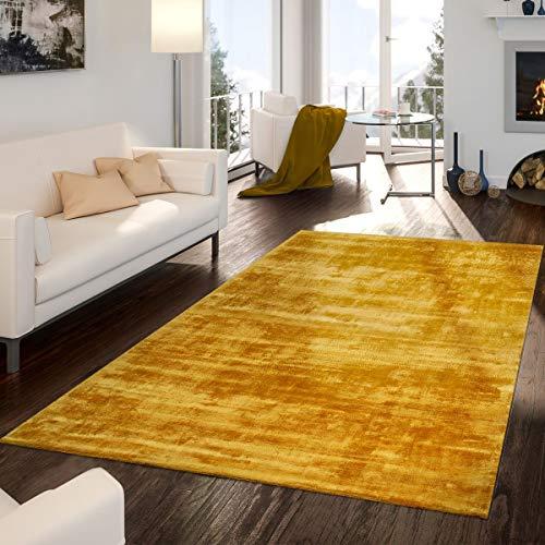 TT Home tapijt handgetuft moderne kwaliteit edel viscose garen glans uni geel