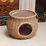 baiao Handmade Rattan Wicker Basket Cat Bed Cave Dog House Pet Home Rattan Furniture Kennel Two Level Cat Houses with Cushion Original Color(Size:L
