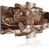 murando - Cuadro en Lienzo 100x50 cm Mapa del Mundo Impresión de 5 Piezas Material...