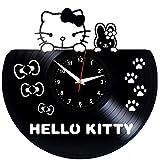 HELLO KITTY Reloj De Pared Vintage Accesorios De Decoración del Hogar Diseño Moderno Reloj De Vinilo Colgante Reloj De Pared Reloj Único 12' Idea de Regalo Creativo vinilo pared Reloj HELLO KITTY