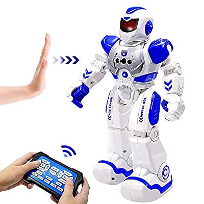 BIBIELF Robot Toys for Kids, RC Programmable Robot Toys for Boy with Infrared Gesture Sensing, Sliding, Singing, Dancing, Interactive Early Educational Kids Robot Toys Birthday Gift for Kids, Blue