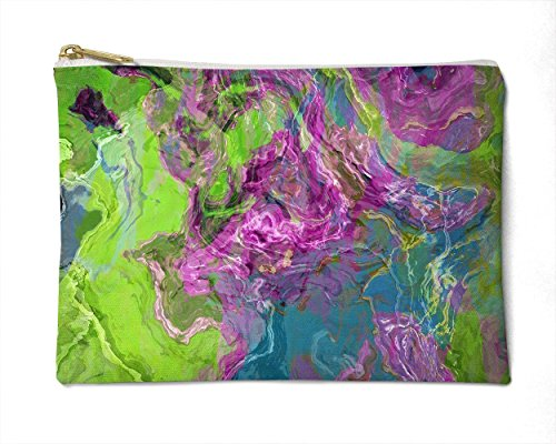 Makeup Bag or Pencil Case with Abstract Art in Purple and Green, Archipelago