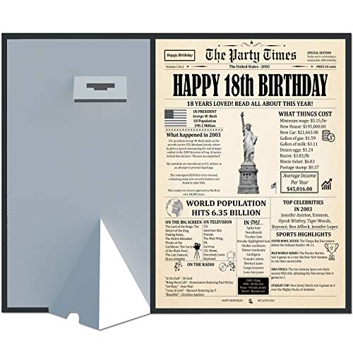 18 Years Ago Birthday Poster 8 x 10 Party Decor Sign 18th Anniversary Card for Men or Women Home Decoration Party Supplies. Born in 2003 Newspaper