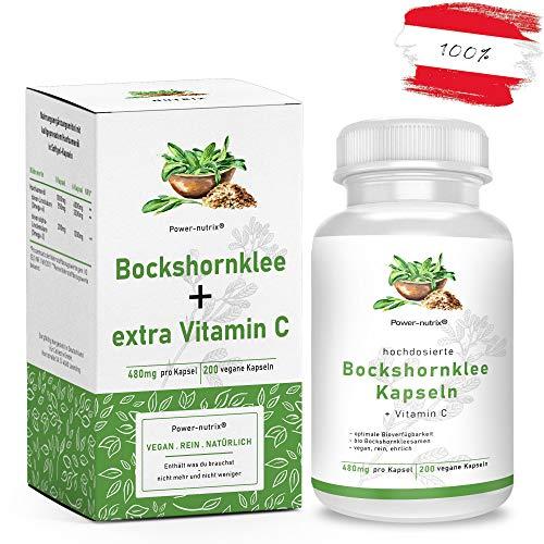 Power-nutrix Bockshornklee Kapseln - 492mg - 200 Stück - Bio Bockshornklee + extra Vitamin C