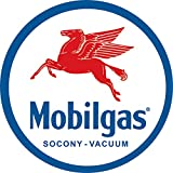Desperate Enterprises Mobilgas Pegasas Round Tin Sign, 11.75' Diameter