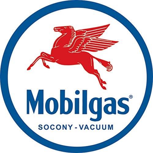 Desperate Enterprises Mobilgas Pegasas Round Tin Sign, 11.75' Diameter