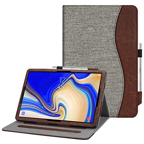 Fintie Funda para Samsung Galaxy Tab S4 10.5 - [Protección de Esquina] [Multiángulo] Folio Carcasa con Bolsillo y Soporte de S Pen Auto-Reposo/Activación para Modelo SM-T830/T835, Tela Gris