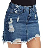 Yying Minifalda De Mezclilla Rasgada para Mujer Falda Vaquera De Mezclilla con Lápiz Azul Oscuro XS