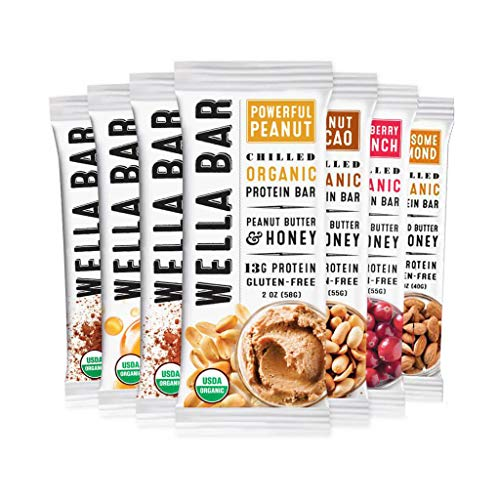 Wella Bar Refrigerated Protein Bar| Sampler Pack, 8 1.4 - 2.0 oz Bars, 6 flavors | Peanut and Almond Butter Bars|Whole Food Snack Bar, Protein, Gluten Free, Organic, Non-GMO, On-The-Go Snack
