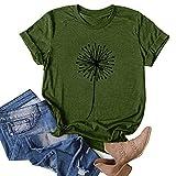 FMYONF Camiseta de manga corta para mujer, diseño de diente de león, camiseta de verano, informal, cuello redondo, opaca, túnica, manga corta, camisa, blusa Verde militar. XL