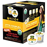 SOLLO VITTA Complex Dark Coffee Pods With Essential Vitamins B1, B5, B6, B9, B12 & D3 For Active Seniors, Immune System Booster, Improve Cognitive Function and Attention, Compatible With 2.0 K-Cup Keurig Brewers, 24 Count