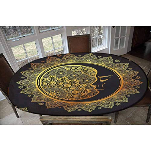 LCGGDB Elastic Edged Polyester Fitted Tablecolth -Intricate Bohemian Ornament- Oval/Olbong Fitted Table Cover - Fits Oval/Olbong Tables up to 48'x78',The Ultimate Protection for Your Table