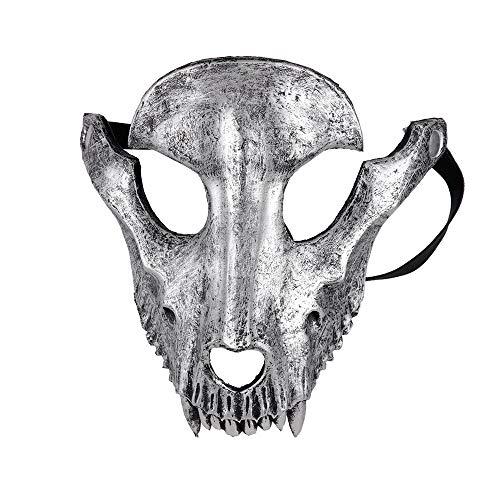 ALEILA Halloween Masken, 3D Schafschädel Party Festival Masquerade Mardi Headpiece Cosplay,Silber