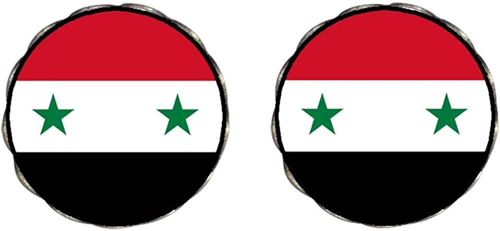 GiftJewelryShop Bronze Retro Style Syrian Arab Republic flag Photo Clip On Earrings Flower Earrings #12