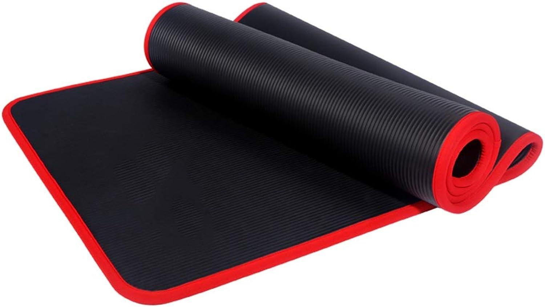 Bedeckte rutschfeste Yoga-Matte, 183  61cm Verlngert Verbreitert Verdickt 10mm Sport Fitness Matte Schwarz