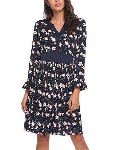 Meaneor dames chiffonjurk blouse-jurk lange mouwen jurk bloemen V-hals vintage wikkeljurk zwart blauw rood maat S-XL