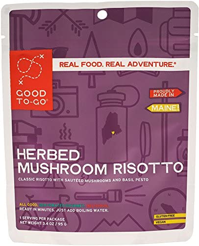 GOOD TO GO Herbed Mushroom Risotto Single Serving Dehydrated Backpacking and Camping Food Lightweight product image