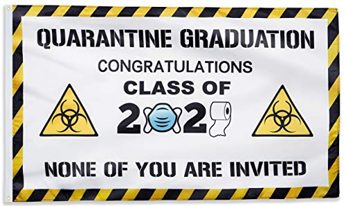 X.NVIOA Quarantine Graduation Decoration Flag 3X5 FT class of 2021 Great Blessing Banner Happy New Year Indoor Outdoor Room