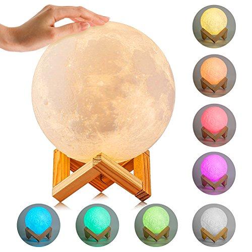 Maan Lamp Lunar Moon Light | Verlichting Nacht Licht 3D Printing Touch Sensor | Maan Lantaarn USB Oplaadbaar | Home Decoratieve Hanglamp met Hout Houder 5.9 Inch