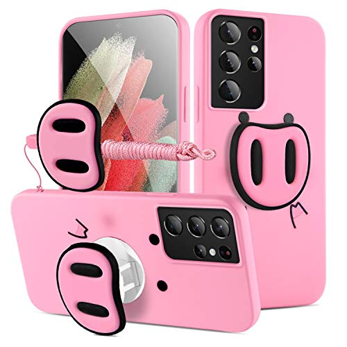HikerClub Galaxy S21 Ultra 5G Case - Pink Pig Phone Case Cute 3D Cartoon Soft TPU Silicon Protective Case with Phone Holder Stand and Detachable Long Lanyard for Girls Children (S21 Ultra 5G)