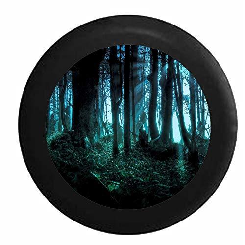 Hokdny Cubiertas De Neumáticos para Rueda De Repuesto Bosque Encantado Místico La Luz del Sol Que Atraviesa Los Árboles Negro A Prueba De Polvo, Impermeable
