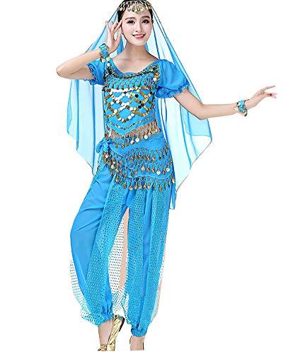 Mujer 5 Piezas Ropa de la Gasa Indio Traje de Danza del Vientre Vestido de Baile Trajes de Disfraces de Cosplay Lago Azul 5PCS