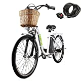 """26"""" 250W Cargo Electric Bicycle 6-Gear Speed Sporting Ebike 36V10A Lithium Battery -Class AAA(White)"""