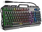 TedGem Teclado para juegos, Teclado con cable USB, teclado retroiluminado LED, teclado para juegos con 12 teclas de acceso directo multimedia, 19 teclas, anti-fantasma para PC/ordenador/portátil Gamer