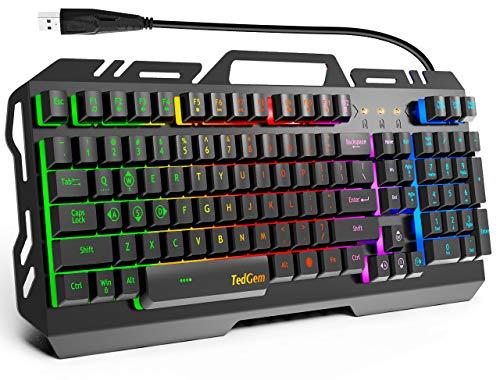 TedGem Teclado para juegos, Teclado con cable USB, teclado retroiluminado LED, teclado para juegos con 12 teclas de acceso directo multimedia, 19 teclas, anti-fantasma para PC/ordenador/portát