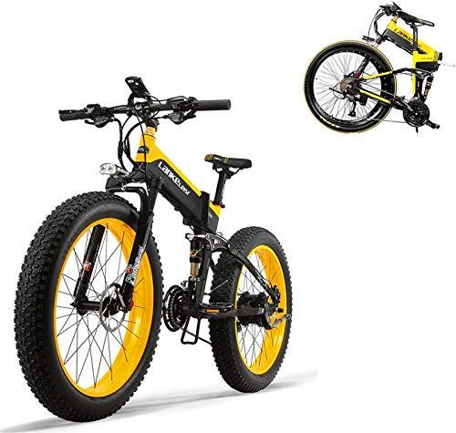 Bciclette Elettriche, Nuova 500W 48V montagna elettrica bicicletta- 26inch Suspension Fat Tire E-Bike Beach Cruiser Mens sportiva elettrica della bicicletta MTB Dirtbike- completa batteria al litio E-