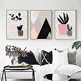 Pintura abstracta geometría gráfica lienzo pintura rosa gris negro abstracto montaña pared imagen creativa habitación de bebé decoración del hogar 30x50cmx3 sin marco