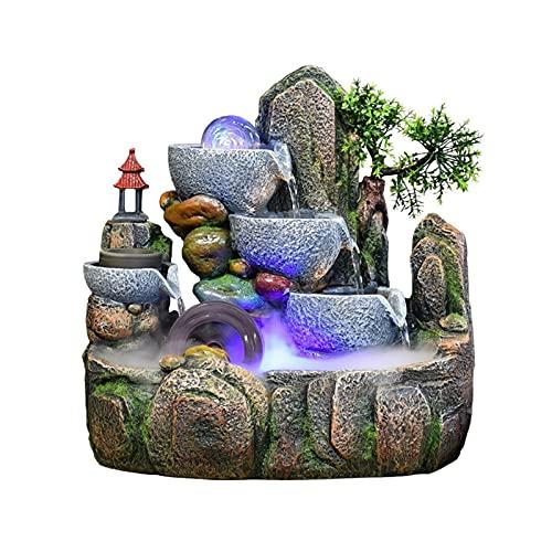 Fuente de Interior Hermosa roceadora y flujo de agua Fountain Fountain Fengshui Wheel Transfer Ball Sala de estar Decoración de la oficina de escritorio (32 * 20 * 32 cm) Fuente Decorativa para Cuarto