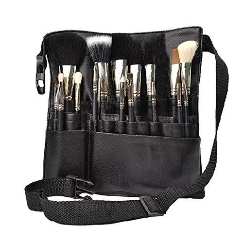 Étui de maquillage professionnel sac de brosse, portable 22 poches cosmétiques titulaire de brosse cosmétique organisateur avec courroie de ceinture d'artiste en cuir PU (brosses non incluses)