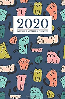 2020 Weekly And Monthly Planner: Daily Agenda and Organizer   Simple Dated Week and Month Calendar with Notes Pages   Cute Cat Lover Retro Pattern Design (2020 Weekly and Monthly Cat Planners)