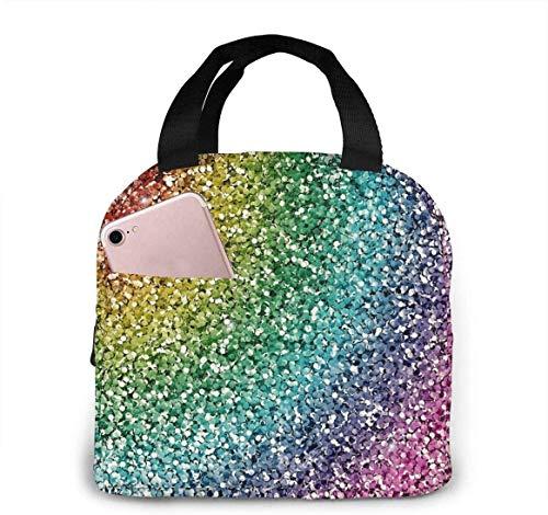 Luxuriöse Lunch-Tasche mit Regenbogen-Glitzer, isolierte Picknick-Lunchbox, Handtaschen-Tasche, auslaufsicher, weiche Taschen für Camping, Büro, Reisen
