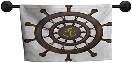 QIAOQIAOLO Multi-Pattern Towel Ships Wheel Wooden Steering Wheel of The Ship with Anchor Pattern History Antiques Rustic Style Machine Washable Brown,W20 x L39