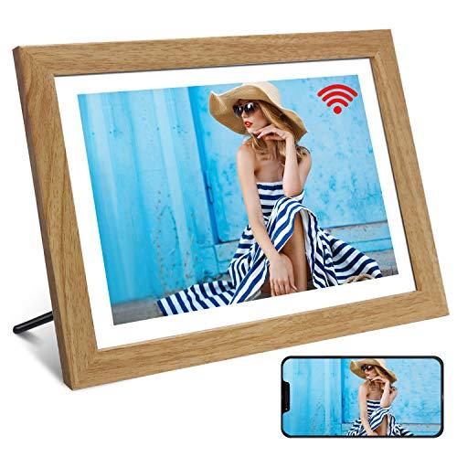 WiFi Digitaler Bilderrahmen YENOCK 10.1'Touchscreen 1280 * 800 Eingebauter 16-GB-Speicher Hochformat und Landschaft Sofort Foto- und Videofreigabe Automatisch drehen