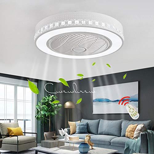 Ventilador De Techo Iluminación De Control Remoto Ventilador Silencioso Luz De Techo LED Moderna Lámpara De Techo De Cristal De Dormitorio Regulable Lámpara De Araña De Habitación Con Ventilador
