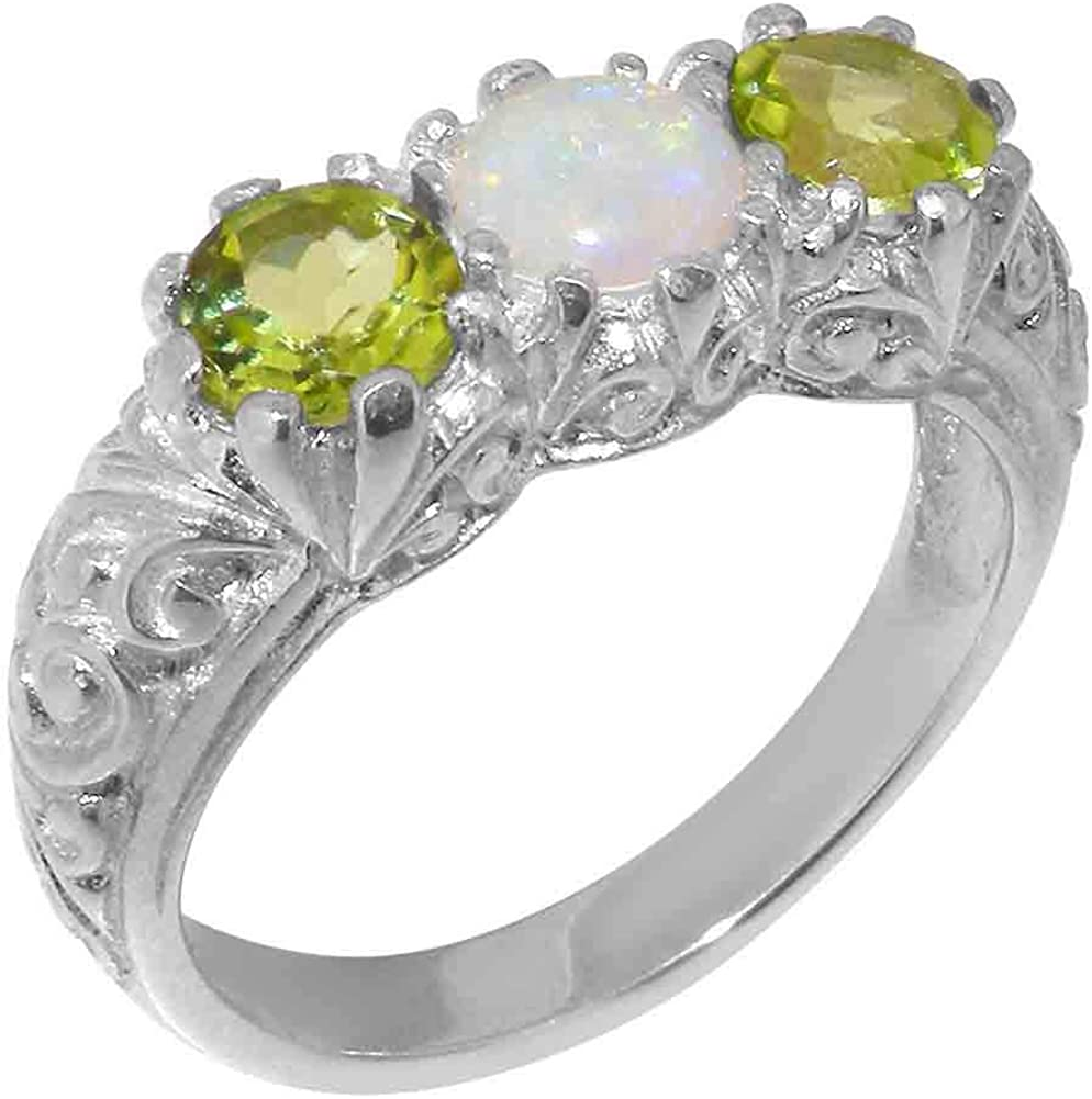 18k White Gold Natural Opal Peridot Trilogy Weekly update Size ring - Womens Limited time for free shipping