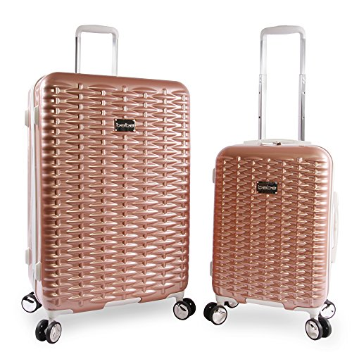 BEBE Women's Lydia 2 Piece Set Suitcase with Spinner Wheels, Rose Gold, One Size