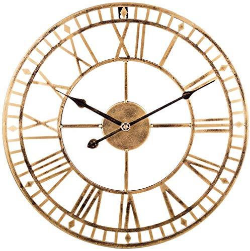MLL 60 cm Reloj de Pared Vintage Reloj de Pared Grande sin tictac Reloj Silencioso Reloj de Pared de Metal Decorativo para salón, Cocina, Oficina y Dormitorio 60 x 60 x 4,5cm Dorado