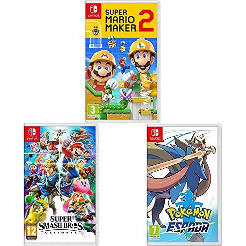 Super Mario Maker 2 + Super Smash Bros + Pokémon Espada