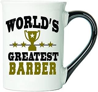 Cottage Creek Barber Cup Large 18 Ounce Ceramic World's Greatest Barber Coffee Mug/Barber Mug Barber Gifts [White]