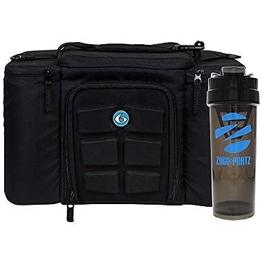 6 Pack Fitness Bag Innovator 300 Black/Neon Blue (3 Meal) w/Bonus ZogoSportz Cyclone Shaker