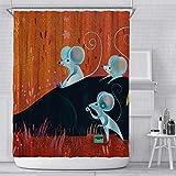 Duschvorhang mit 3 winzigen Mäusen auf rotem Hintergr&, wasserdicht, schimmelresistent, Polyester, 180 x 180 cm