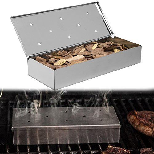 Mr. Bar-B-Q 2 Pack Stainless Steel Wood Chip Smoker Boxes Propane Gas and Charcoal Grill